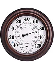 Thermometer Hygrometer Binnen Buiten, Grote cijfers Grote hangende muurbevestiging Thermometer Hygrometer Meten, binnendecoraties Brons, voor kamer, keuken, terras (20cm)