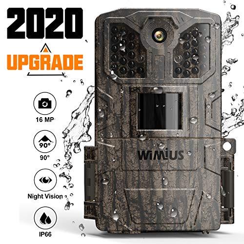 WiMiUS Fotocamera da Caccia, 16MP 1080P Fototrappola con 940nm di 32pcs Luce Invisibile, Macchine Fotografiche da Caccia con 0.5s Trigger Speed Fino a 20m, Impermeabile Telecamera-Upgrade