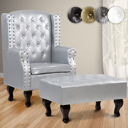 MIADOMODO Ohrensessel Relaxsessel Clubsessel Ottomane nach Chesterfield inklusive Hocker in 4