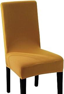 Yuer - Funda de silla de comedor extensible elástica para silla de comedor, funda de protección universal, extraíble, lavable, decoración para casa, ceremonia, boda, hotel, amarillo