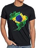 CottonCloud Flagge Brasilien Herren T-Shirt Fußball Sport Brazil WM EM Fahne, Farbe:Schwarz, Größe:5XL