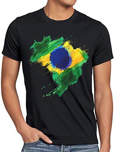 CottonCloud Flagge Brasilien Herren T-Shirt Fußball Sport Brazil WM EM Fahne, Größe:M, Farbe:Schwarz