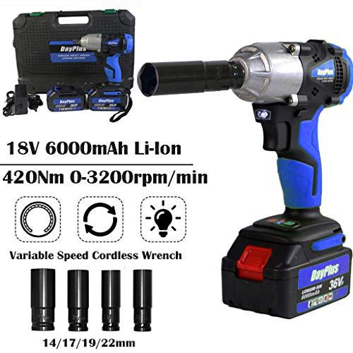 420 Nm High Torque Akku-Schlagschrauber 1/2 Zoll mit 2 x 6,0 Ah Li-Ion 18 V-Akku - Inc. Richtungssteuerung und Trigger mit variabler Geschwindigkeit sowie LED-Arbeitsleuchte