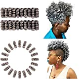 BECUS 3 Packs Short Grey Saniya Curl(12 mm) Crochet Braids Hair 10inches 20 Roots/pack Afro Bouncy Wave Synthetic Hair Extensions