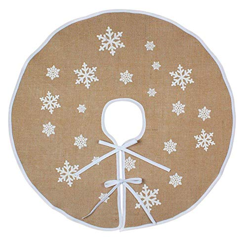 ERONE Christmas Tree Skirt, 47 inch Rustic Burlap White Snowflake Countryside Tree Stand Skirts, for Holiday Decorations Indoor Outdoor