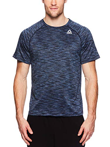 Reebok Men's Supersonic Crewneck Workout T-Shirt Designed with Performance Material - Push Press Navy, Medium