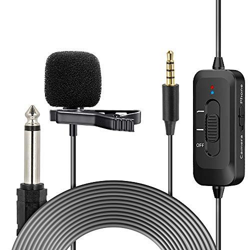 Indovis KM-D2 Micrófono de condensador omnidireccional con clip de 3,5 mm con conector de 3,5 mm   Cable de 8 m   Super sonido para presentaciones de audio y vídeo   para smartphone cámara DSLR PC