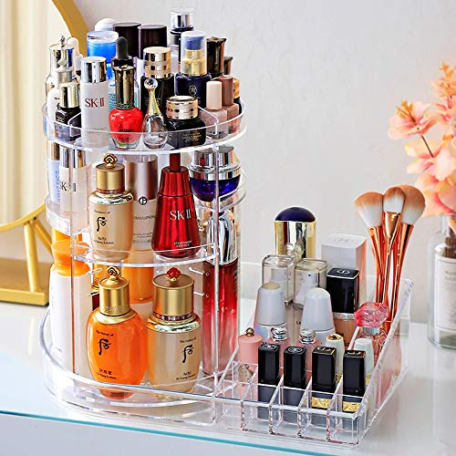 Kcakek Cosmetische Storage Box Desktop Transparent Rotating Lipstick make-up kwast kaptafel Skincare Planken Layered Cosmetische Storage Box Cosmetische plank in badkamer en slaapkamer