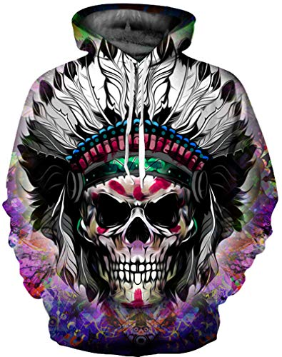 Ocean Plus Hombre 3D Sudaderas Suéter de Lobo Colorido Sudadera con Capucha Cráneo (S/M (Cofre: 112-132CM), Cráneo Indio)