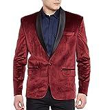 WINTAGE Men's Premium Velvet Notch Lapel Tuxedo Coat Blazer Jacket: Maroon