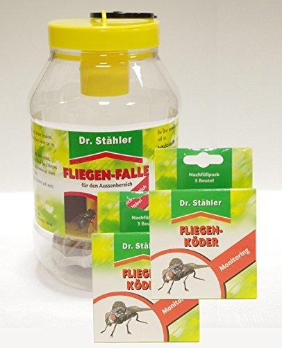 Dr. Stähler Fliegen-Falle - Set-Angebot 1 x Fliegenfalle 2 x Nachfüllpack