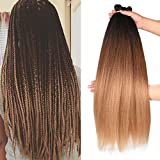 Refined Products 26inch Ombre Pre-stretched Braiding Hair 6 packs Synthetic Kanekalon Easy Braid Yaki Texture Crochet Twist Braids Hair Extensions (Black/Brown/Light Brown)