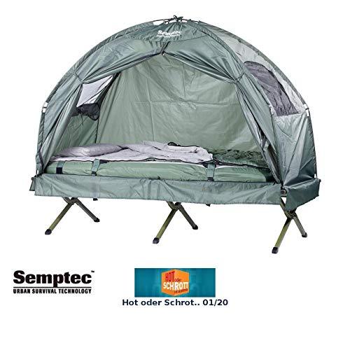 Semptec Urban Survival Technology Zeltliege: 4in1-Zelt mit Feldbett, Schlafsack und Matratze, 1.000 mm Wassersäule (Campingliege)
