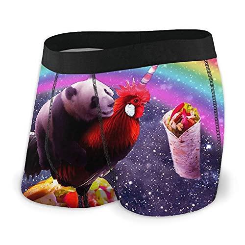 Calzoncillos tipo bóxer para hombre, ropa interior cómoda, clásica, elástica, para deporte, Space Panda - Pollo, unicornio, taco, burrito, arcoíris negro, XL
