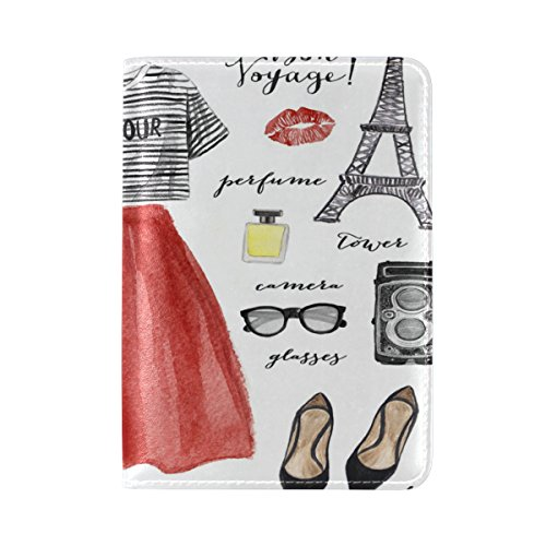 ALAZA Paris Eiffel Tower Lips Leather Passport Holder Cover Case Travel One Pocket