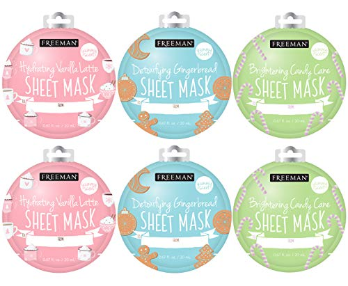 Freeman Holiday Ornament Sheet Masks (Pack of 6) - Nourishing, Relaxing, Scented!