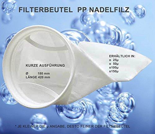 Calictus Filterbeutel, Filterstrumpf Algenkiller, Nadelfilz 25 Micron, Kurze Ausführung, 42cm lang, Durchmesser 18cm