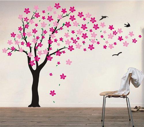 Pop Decors Driften bloemen en vogels boom muursticker voor kinderkamer, 180,3 cm
