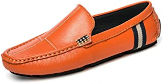 Shangruiqi Driving Loafers for Men Gommino Slip On Synthetic Leather Experienced Stitched Vegan Super Soft Classic Modern Lug Sole Grid Pattern Anti-Skid (Color : Orange, Size : 7 UK)