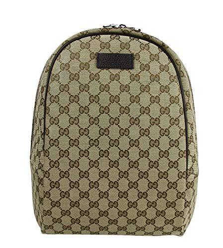 Gucci Unisex Zipper Top Beige/Brown GG Canvas Backpack 449906 9873