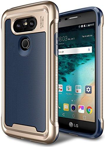 E LV Case for LG G5 - Hybrid [Scratch/Dust Proof] Armor Defender Slim Shock-Absorption Bumper Case for LG G5 - [Dark Blue/Gold]