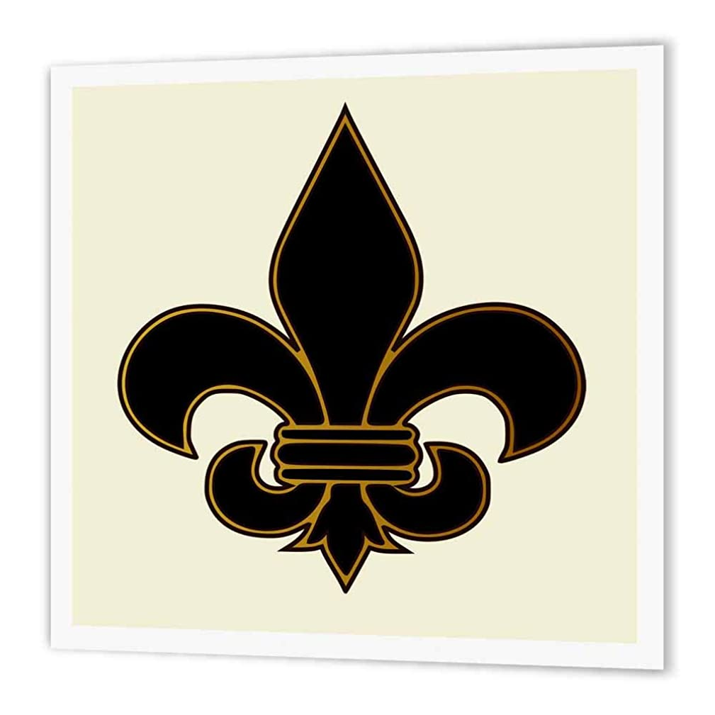3dRose ht_22360_2 Large Black and Gold Fleur De Lis Christian Saints Symbol-Iron on Heat Transfer Paper for White Material, 6 by 6-Inch