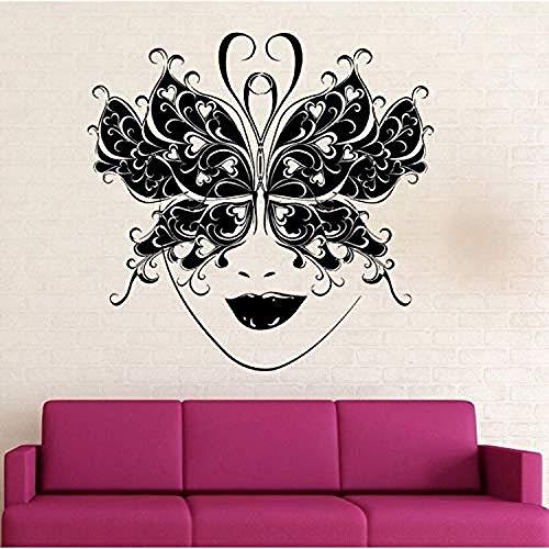 Woonkamer Muurstickers Muurstickers Vinyl Afneembare Maskerade Maskerade Muur Decals Vlinder Masker Decoratieve Kunst Mural Party Decoratie Behang Art Ay598 42X41Cm