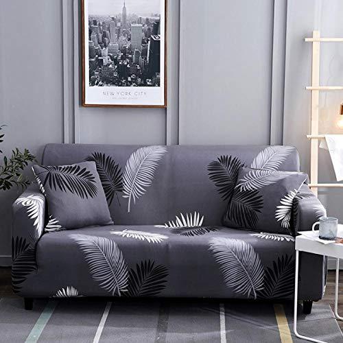 Artezxx bankovertrek, polyester en spandex, 1/2/3/4 zits, meubelbescherming, bank voor woonkamer, slaapkamer, modern drukpatroon met alles bij de levering inbegrepen 1 plazas: 90-140 cm Zwarte veren