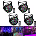 UKing 4pcs LED Par Can Lights 36led 72W Stage Light DMX RGB Wash Light with Wireless Remote by Controlled 7 Modes for DJ Disco Wedding Party Stage Lighting