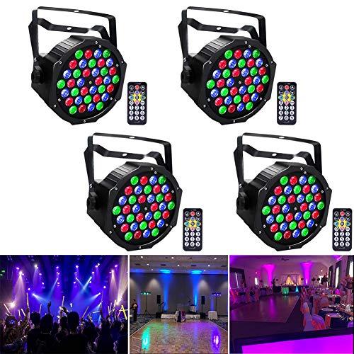 UKing LED Par koplampen DMX lichten RGB 36 LED verlichting met afstandsbediening LED spots Party lichteffecten voor DJ Disco Party Light Club 4pcs zwart