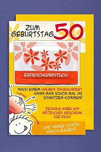 Grußkarte 50 Geburtstag Karte Humor Applikation Erfrischungstuch C6