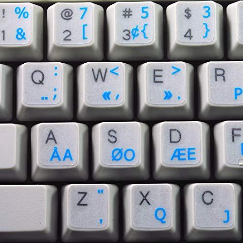 Programmer Dvorak Keyboard Decals with Blue Lettering Transparent Background