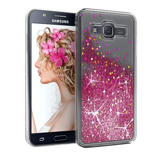 EAZY CASE Hülle kompatibel mit Samsung Galaxy J5 (2015) Schutzhülle mit Flüssig-Glitzer, Handyhülle, Schutzhülle, Back Cover mit Glitter Flüssigkeit, aus TPU/Silikon, Transparent/Durchsichtig, Pink