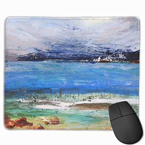 Muiskussen, bureaumuis, muiskussens, muismat abstracte kustgolven zeegezicht kust Rendezvous schilderij schilderachtig landschap