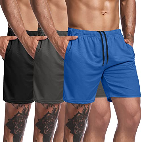 COOFANDY Men's 3 Pack Bodybuilding Gym Shorts 5 inch Workout Short Pants Training Fitness Jogger with Pocket