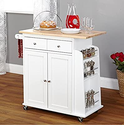 Kitchen Island On Wheels Cart with Storage Cabinet and Drawers Wood Shelves by Premium Kitchen USA