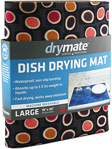 Drymate Dish Drying Mat, Premium XL Size (19' x 24'), Kitchen Dish Drying Pad – Absorbent/Waterproof – Machine Washable (Made in the USA) (Didjeridu 12)
