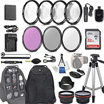58mm 28 Pc Accessory Kit for Canon EOS Rebel T7, T6, T5, T3, 1300D, 1200D, 1100D DSLRs with 0.43x Wide Angle Lens, 2.2X Telephoto Lens, 32GB Sandisk SD, Filter & Macro Kits, Backpack Case, and More by 33rd Street