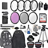 58mm 28 Pc Accessory Kit for Canon EOS Rebel T7, T6, T5, T3, 1300D, 1200D, 1100D DSLRs with 0.43x Wide Angle Lens, 2.2X Telephoto Lens, 32GB Sandisk SD, Filter & Macro Kits, Backpack Case, and More