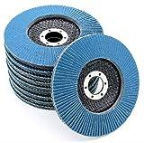 Discos de láminas profesionales, color azul, 10 unidades, 115 mm de diámetro, grano 100, acero inoxidable, discos de lija