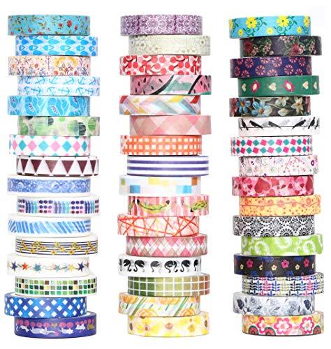 Set di 48rotoli di nastri Washi Tape, da8mm di larghezza, colorati e con motivi floreali. Nastro adesivo per decorazioni, fai da te, scrapbooking e confezioni regalo