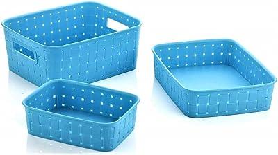 Kesariyaji New Smart Baskets for Storage Fruits Egg Handkerchief Cosmetic Fridge Tray Multipurpose Storage Set of 3 Pieces (Random Color, Made in India)