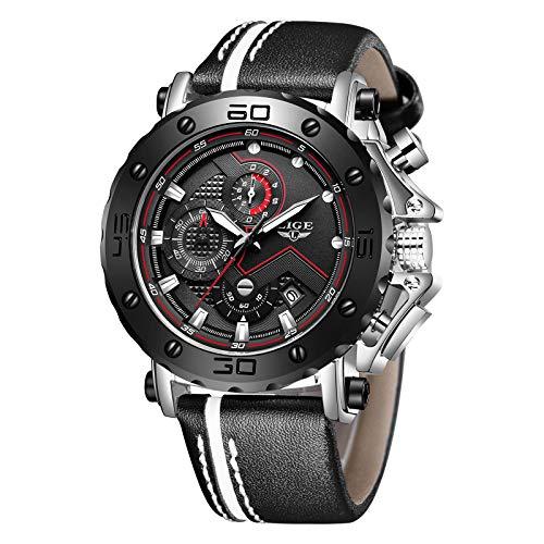 LIGE Herrenuhren Militär Draussen Sports Wasserdichter Quarz Analog Chronograph Schwarz Mode Lederarmband Armbanduhr (Schwarzes)
