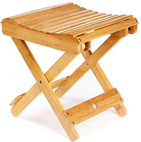 ETECHMART 12' Folding Bamboo Step Stool for Shower, Leg Shaving and Foot Rest, Fully Assembled Wooden Spa Bath Chair for Adults Kids Disabled Women Elderly