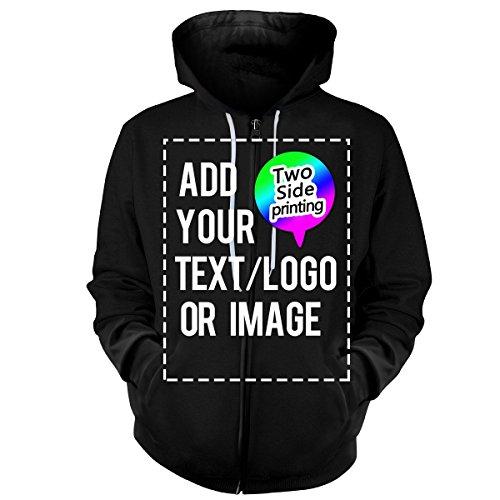 Design Your OWN Hoodie-Custom Full-Zip Hoodies Zipper Sweatshirts Hooded Team Sweaters Black