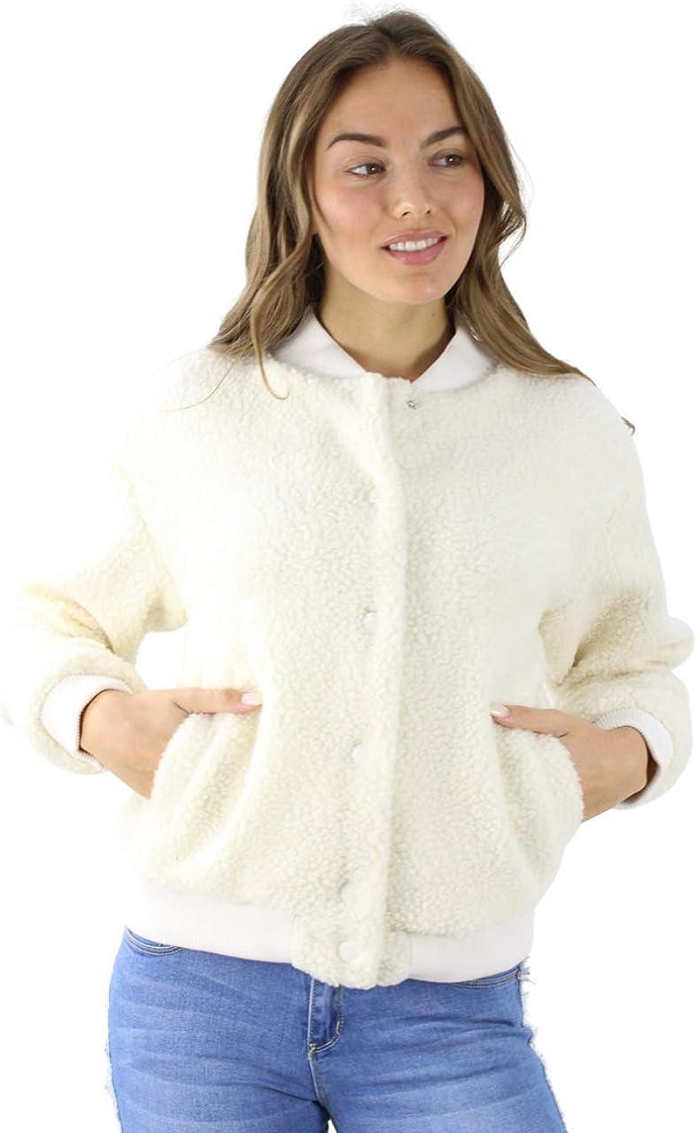 Wholesale Womens Polyester White Faux Fur Bomber Jacket, 6 pcs (1S, 3M, 2L)