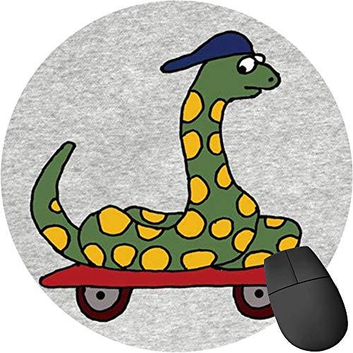 Mauspad/Mauspad, rutschfest, rund, Gummi, für Computer/Laptop, lustige Boa Constrictor Snake auf Skateboard, 2 Stück