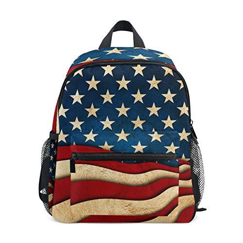 BKEOY Kinder Rucksack Amerika 4. Juli Star Artikel Flag Kleinkind Schule Buch Tasche Daypack