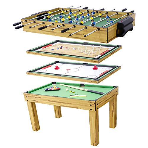 haxTON Luxury 5 in 1 Combo Multi Game Table Set Solid Wood Mini Combination Includes Pool Game, Hockey, Shuffleboard, Bowling, Foosball/Soccer for Children & Adult
