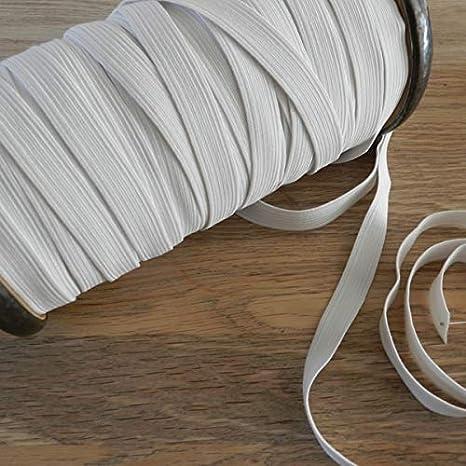 x 10mtrs Flat Elastic White, 12mm 1//2